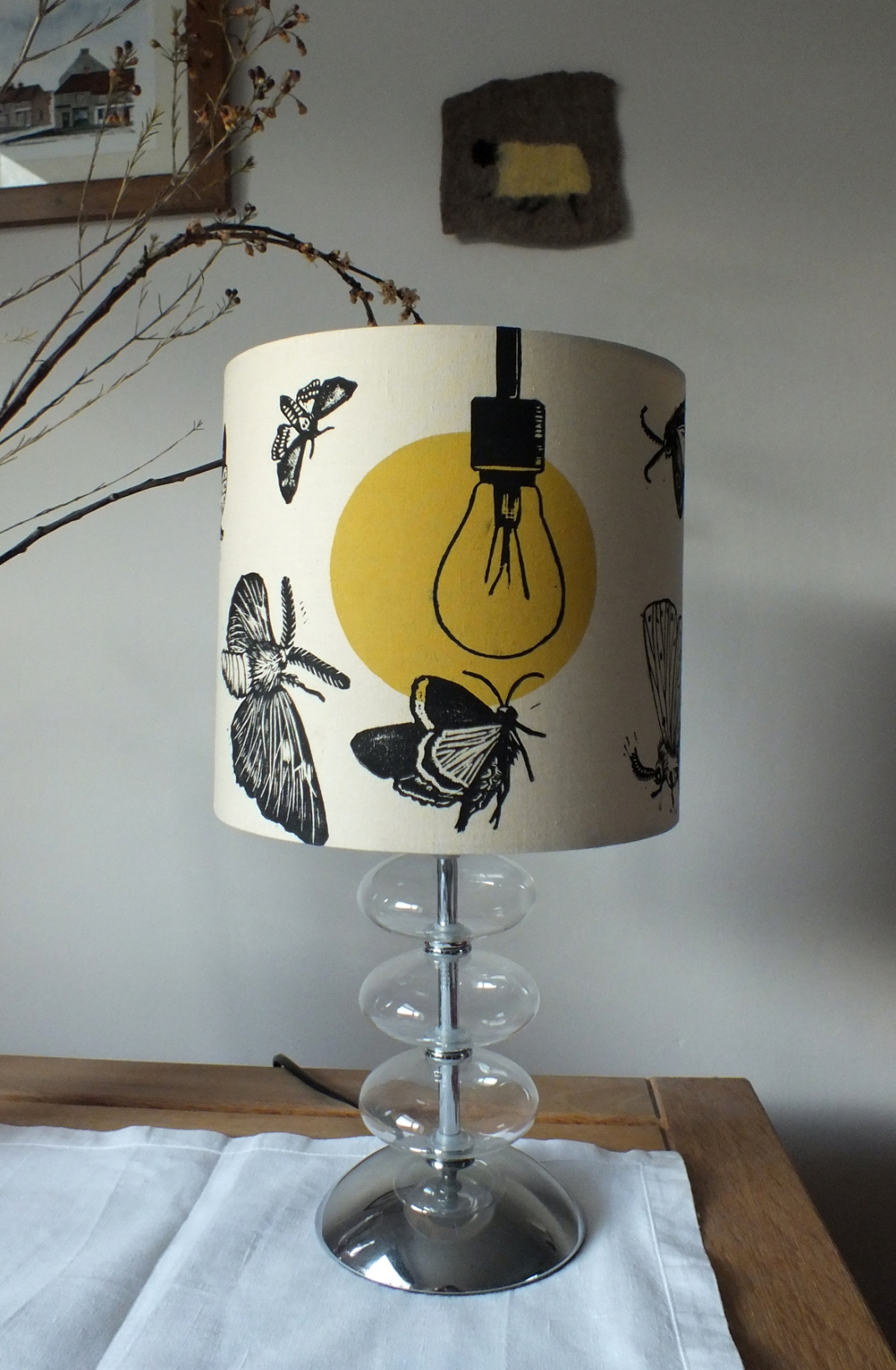 'Drawn to the Light' lampshade ~ lino print/monoprint ~ prices start at £45